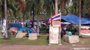 Lumpini Park is the largest protest camp site in Bangkok (Pic: Arno Maierbrugger)