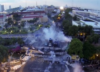 Drones capture dramatic views of Bangkok riots (videos)