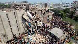 Collapsed garment factory building in Dhaka, Bangladesh, April 24