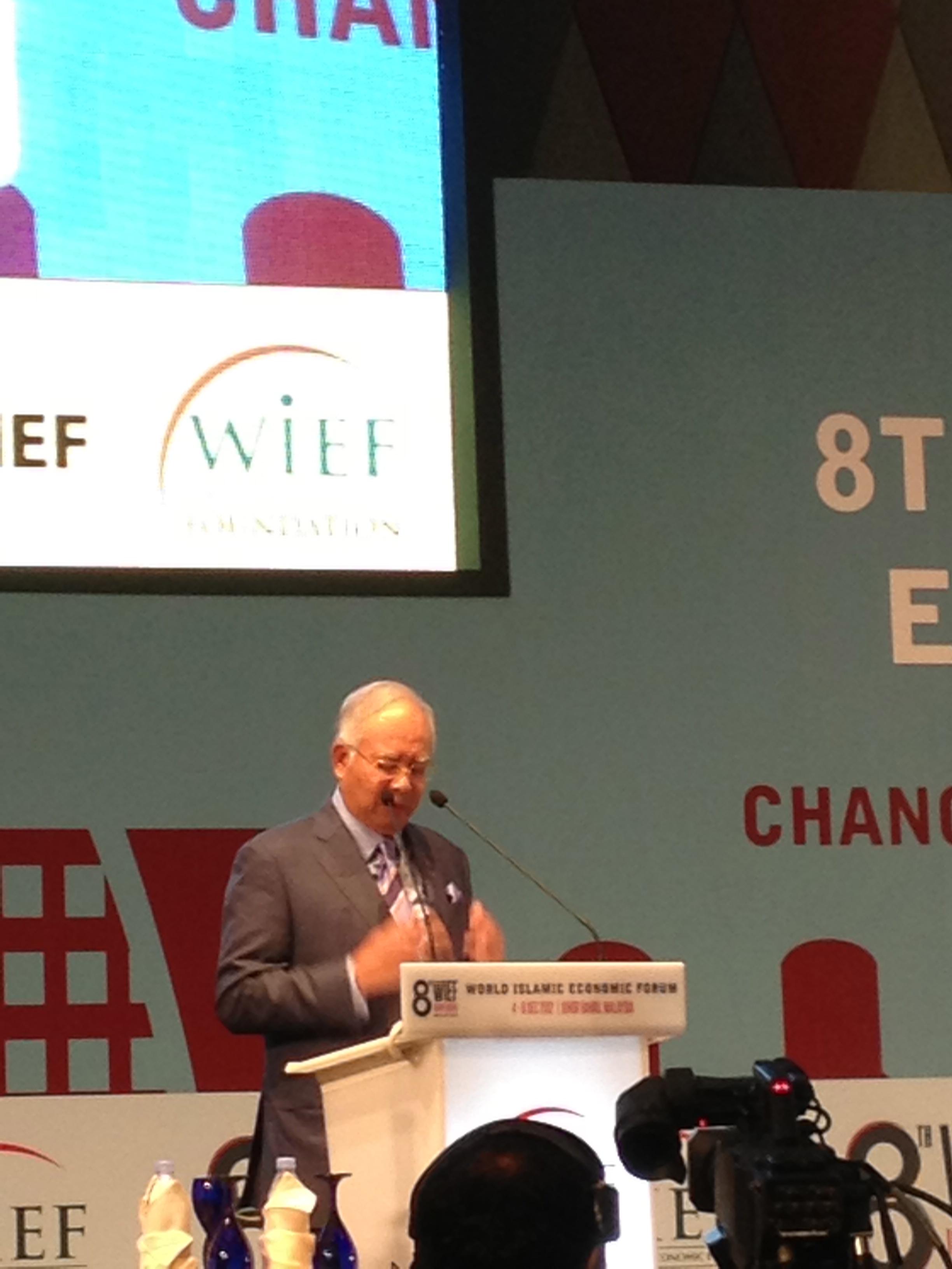 Malaysian Prime Minister Najib Tun Abdul Razak delivers his opening statement to the WIEF