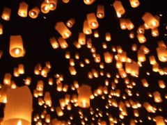 Reflections from a dark night in Chiang Mai