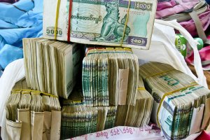 Stacks of Myanmar Money