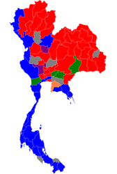 Electoral Map in Thailand Parliamentary Elections 2011 (Pheu Thai party in red, Democrat party in blue)