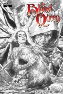 BLOOD QUEEN #3 ANACLETO BLACK AND WHITE COVER