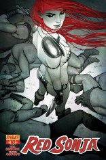 RED SONJA #11 FRISON BLACK AND WHITE COVER