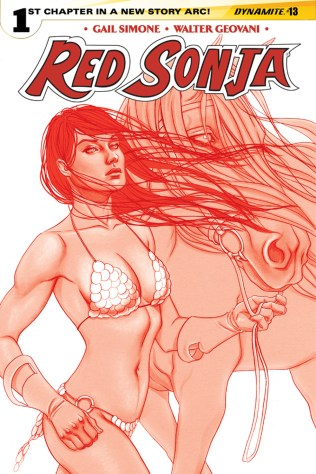 RED SONJA #13 FRISON RED AND WHITE COVER