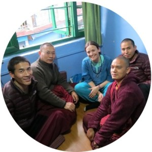 Giada with Monks in Nepal