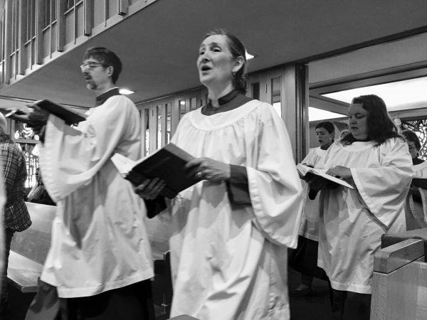 Choir singing in procession