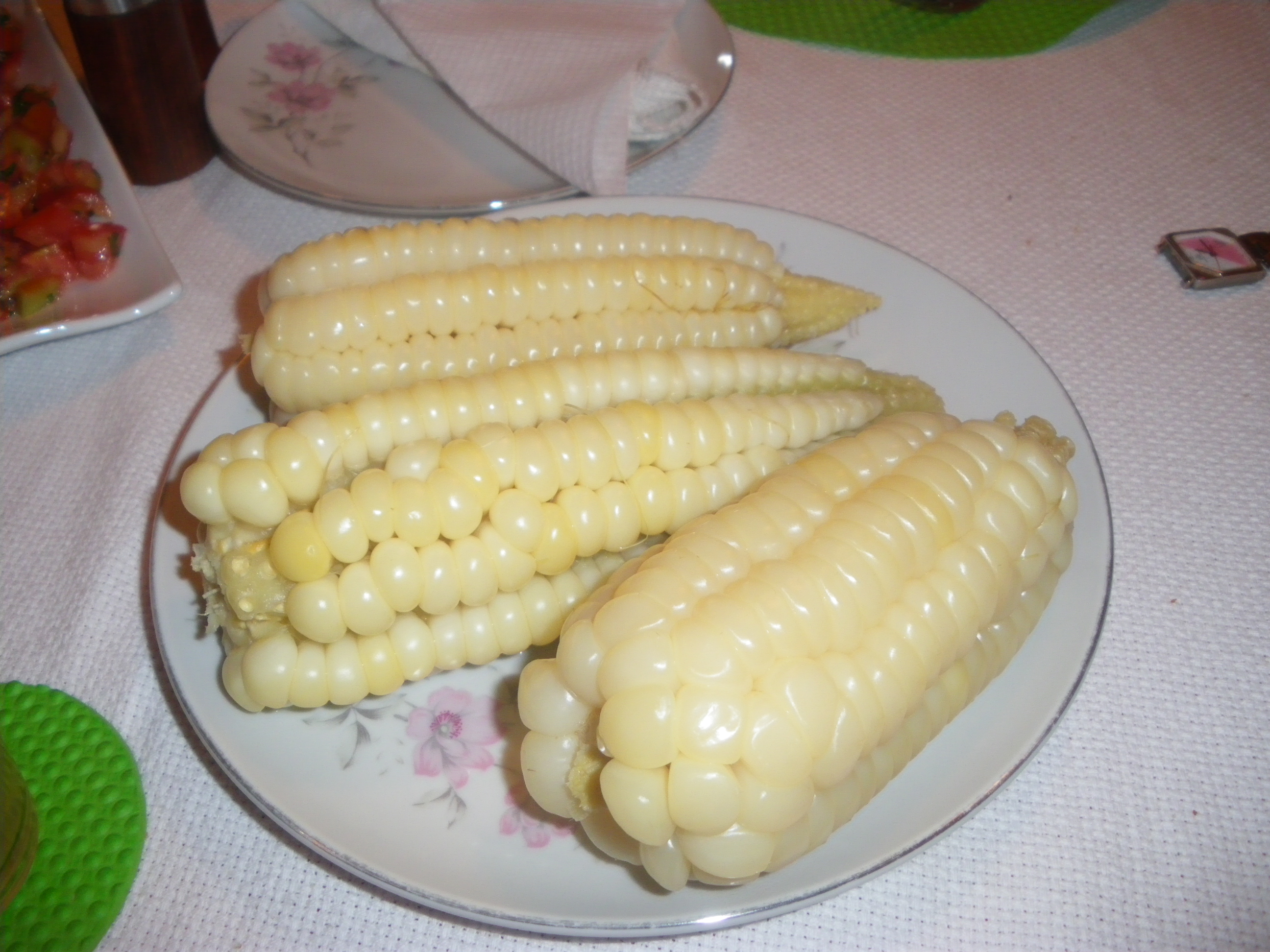 Choclo, the big kerneled corn that is typical to Peru, as served by Señora Aldé