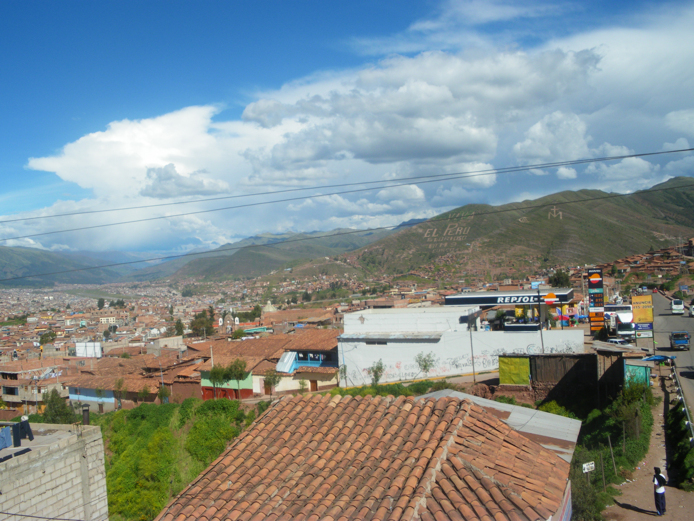 Look way in the background for the Viva El Peru.  This is one of the views we had along the way to our new mountain peak.