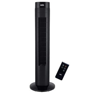 The Ansio Tower Fan, which is a tall black slim fan.