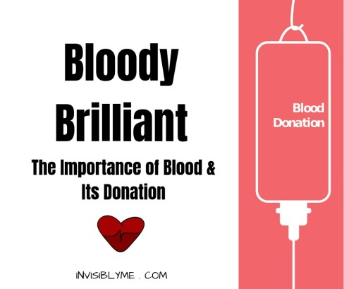 A white background with a peach coloured side part to the right with a white outline of a hanging blood back. To the left is : Bloody Brilliant, the importance of blood and its donation.