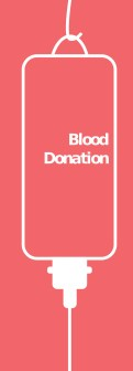 A peach coloured background with a white outline of a hanging blood bag like you'd get during a blood donation service.