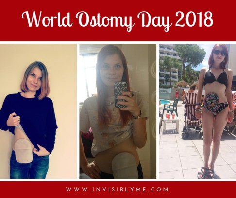"A collage of three images of me showing my stoma bag. Above it reads ""World Ostomy Day 2018""."