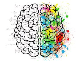 An outline of a brain in black. To the left it's clear with text showing mathematical equations. To the right side are splashes of colours.