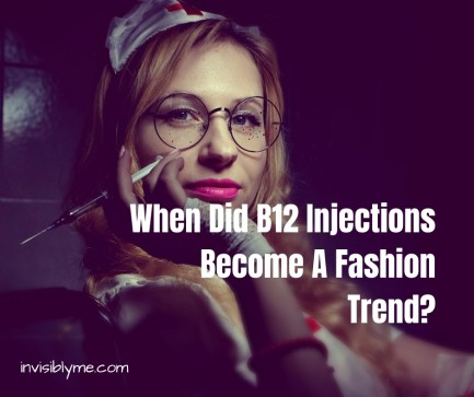 A darkly lit photo of woman dressed as a nurse with large round glasses, bright pink lip stick, and a syringe held seductively. To the right is the title: When did B12 injections become a fashion trend?