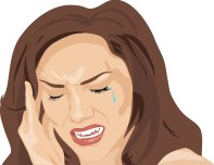 A cartoon of a brunette woman holding her head as though in pain, with a tear escaping one eye.