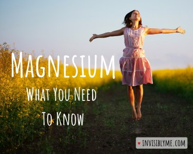 "A woman in a field with yellow flowers, jumping up with her arms held out to the sides. To the right is the post title: Magnesium, what you need to know""."
