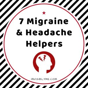 Black, white and red image saying '7 migraine and headache helpers' as the cover image for the post.