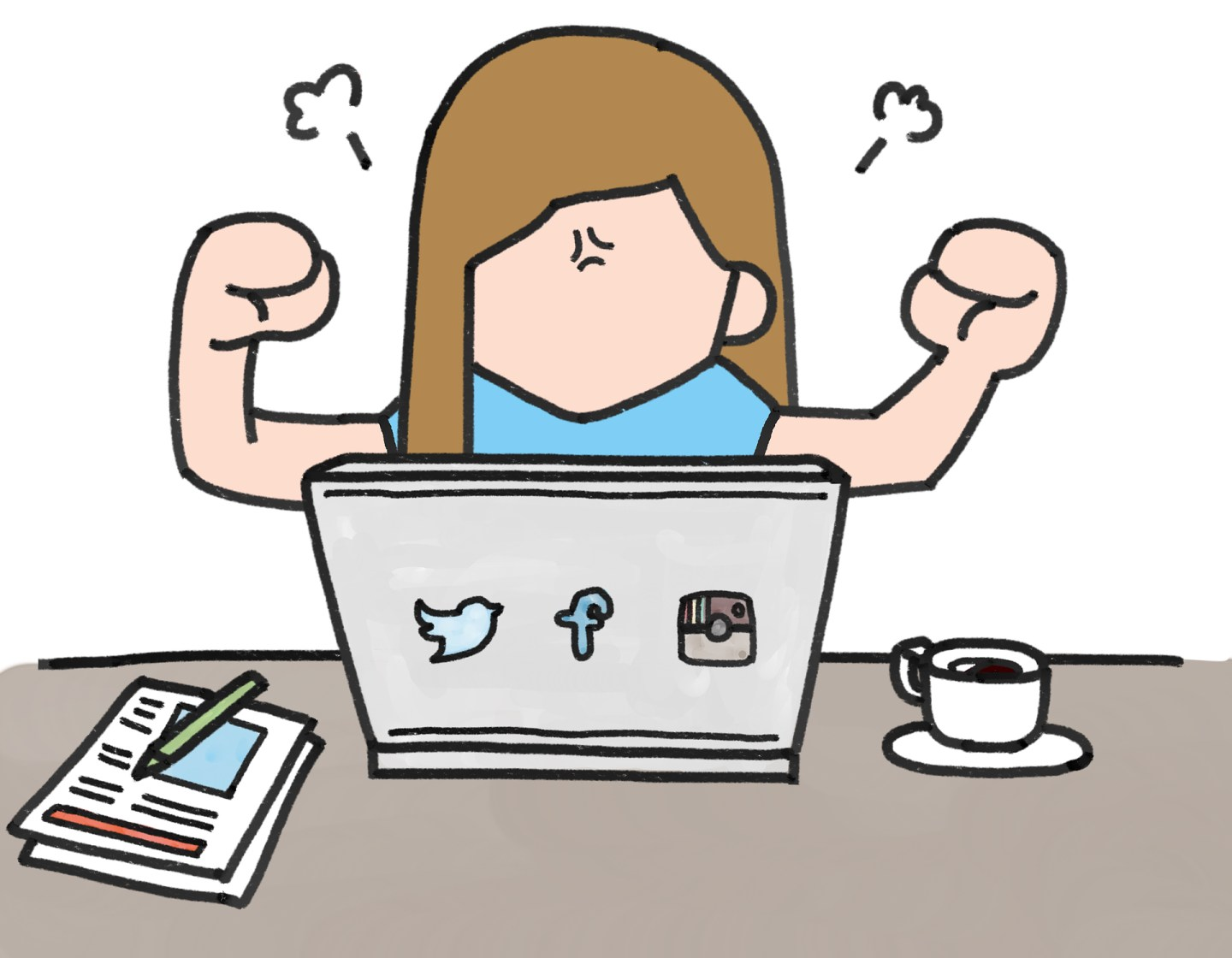 A cartoon of a person by a laptop looking angry, with a cup of tea and some notes by the side.