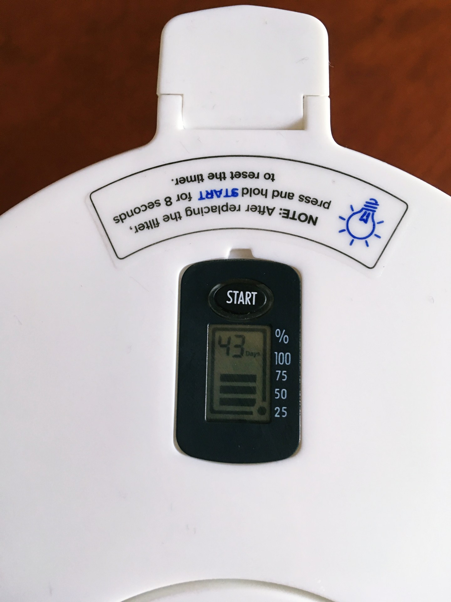 A photograph of the Levoit water filter jug digital display.