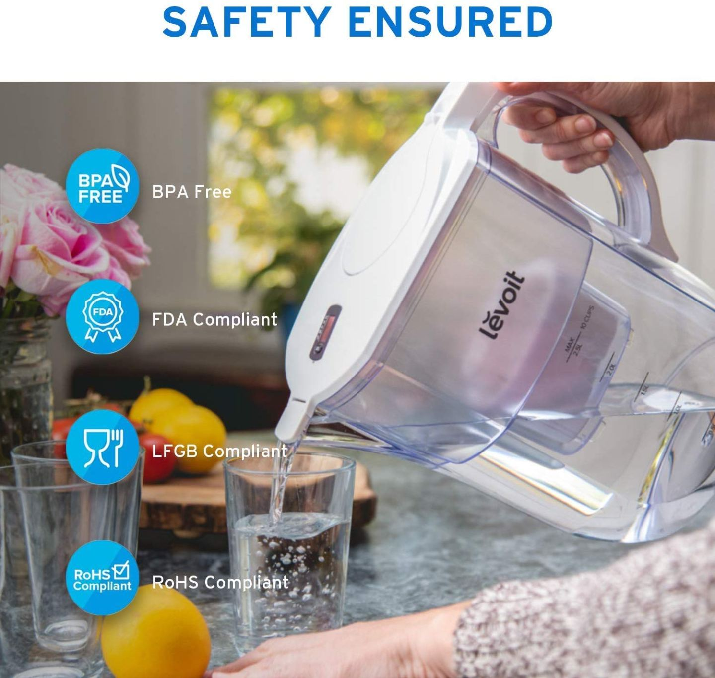 A photograph from Levoit of the  water filter jug being poured, alongside a few facts about the product.