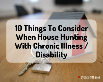 A tiny toy house sat on a pine table with real keys next to it is the background. The post title '10 things to consider when house hunting with chronic illness / disability' is overlaid.