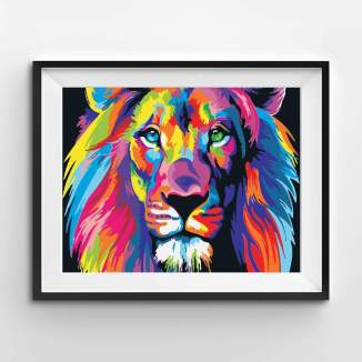 A painted picture of a multi-coloured lion, framed on a wall.