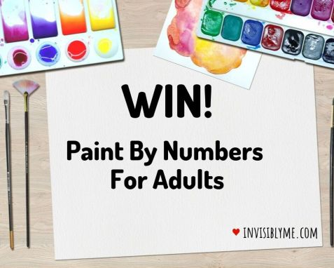 """A cartoon style background of paints and a piece of paper for the giveaway title in the middle: """"Win! Paint by numbers for adults""""."""