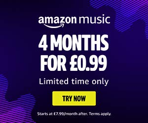 An ad for Amazon Music, with 5 months for £0.99 limited time only.
