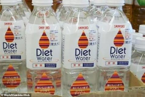 A photo of water bottles with the labels 'diet water' on the front.