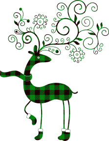 An digital drawing of a deer with ornate antlers, all in green.