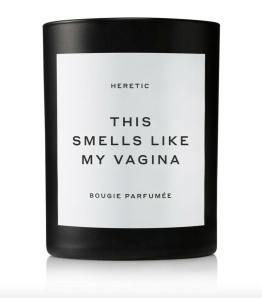 An image of the 'This Smells like My Vagina' candle by Heretic Bougie Parfumee. It's black with a white label.