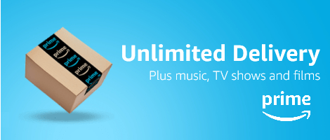 Prime banner with 'Unlimited delivery, plus music, TV shows and films'.