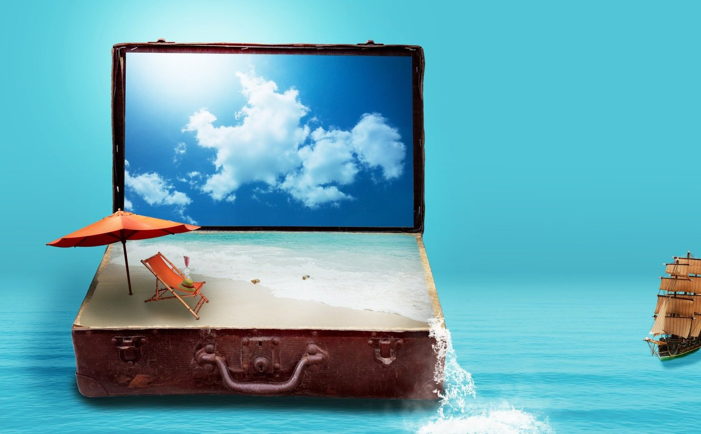 A digital image of a suitcase on water, with a tiny boat to the right. The suitcase has opened up as though it's a laptop, with a blue sky on the screen and sand with a deckchair where the keyboard should be.
