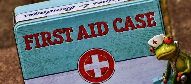 A close-up photo of a green and blue tin that says 'first aid case, medicines and bandages', with a small comical ceramic frog wearing a white medical hat next to it on the right.