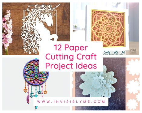 A collage of four images from the DesignBundles range, including cut out art with a unicorn, mandala, flower and dreamcatcher. The post title is in the middle: 12 paper cutting craft project ideas.