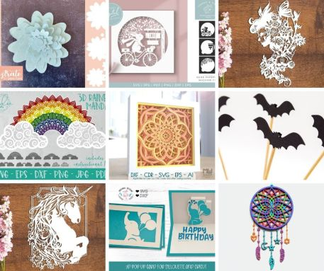 A 3x3 collage of images from Design Bundles, with flower cut outs, bat cut outs, mandalas, cards, a cut out white unicorn, and a dreamcatcher.