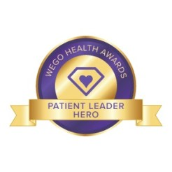 The purple and gold Patient Leader Hero badge for the Wego Health Awards.
