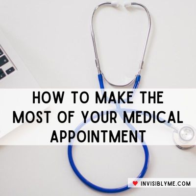 A birds eye photo of a stethoscope on a desk next to a laptop. Overlaid is the title: How to make the most of your medical appointment.