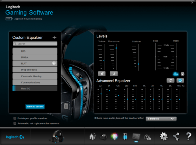 Sound control, from custom equalizer profiles for the likes of MOBA and FPS games for example, volume control, sidetone, bass and treble control and finally an advanced equalizer.