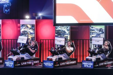 Esport drivers compete in the F1 New Balance Esports Series at GFinity Arena