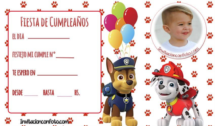 invitaciones con foto de paw patrol - tarjetas patrulla canina cumpleanos
