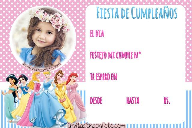 Princesas Disney tarjetas de cumpleanos - princesas disney invitaciones de cumpleanos