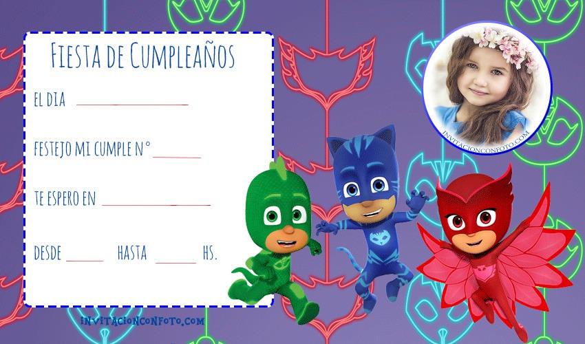 Tarjetas cumpleanos pj masks - heroes en pijamas invitaciones cumpleanos