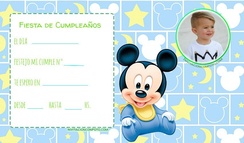Cumpleaños De Mickey Bebe Invitaciones De Cumpleaños