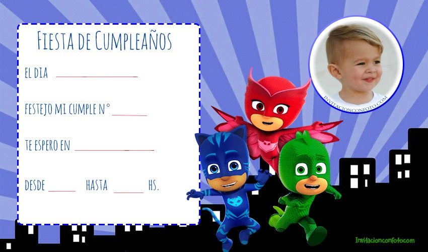 Invitacion De Cumpleanos De Pj Masks O Héroes En Pijamas