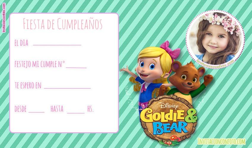 goldie y osito invitaciones de cumpleanos
