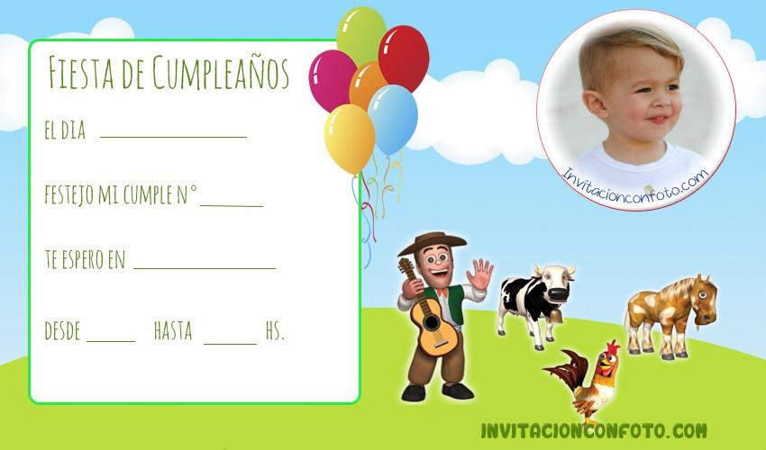 Invitaciones de Cumpleanos de La Granja de Zenon con Foto Invitaciones de Cumpleaños