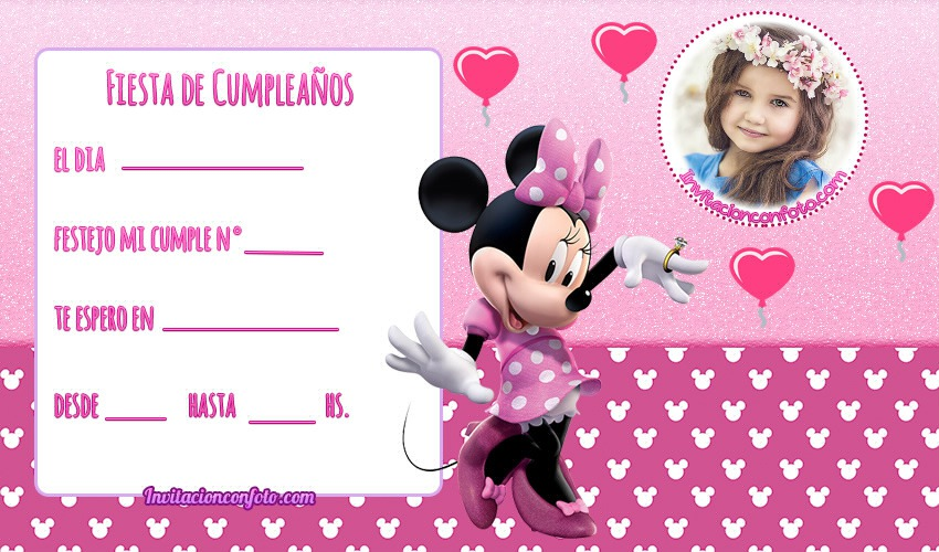 invitacion con foto de minnie mouse - tarjetas de minnie